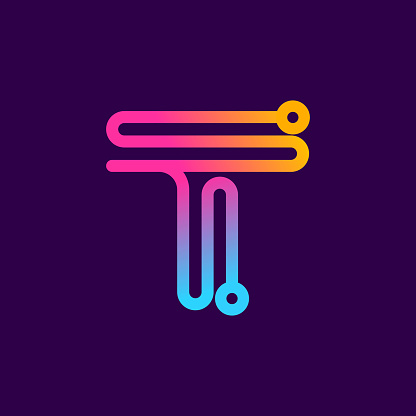 Multicolor T letter logo made of electric wire.