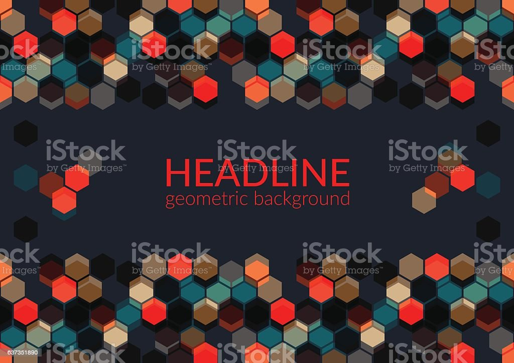 Multicolor trendy horizontal geometric background, vector art illustration