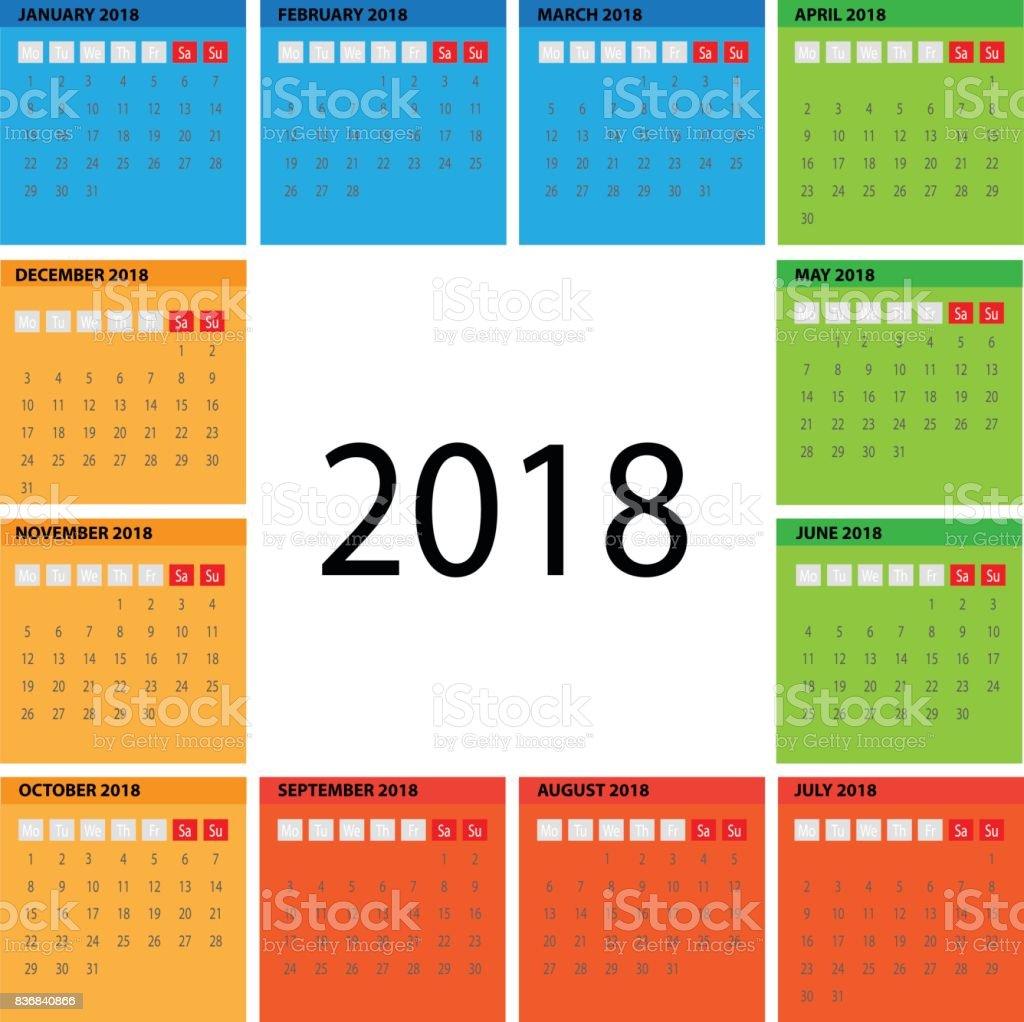 multicolor vector circle basic calendar 2018 illustration eps 10