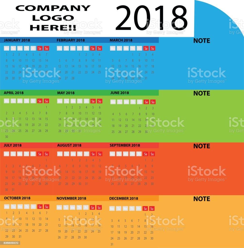 multicolor vector circle basic calendar 2018 with company logo space