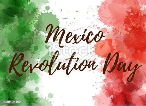Mexico Revolution Day. Background with watercolored grunge design. Revolution  day holiday concept background. Abstract watercolor splashes in Mexico flag colors