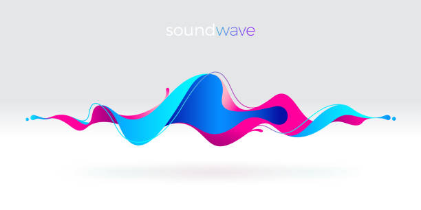 multicolored abstract fluid sound wave. vector illustration. - hałas stock illustrations
