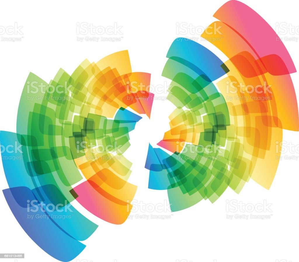 Multicolored abstract geometric circle vector art illustration