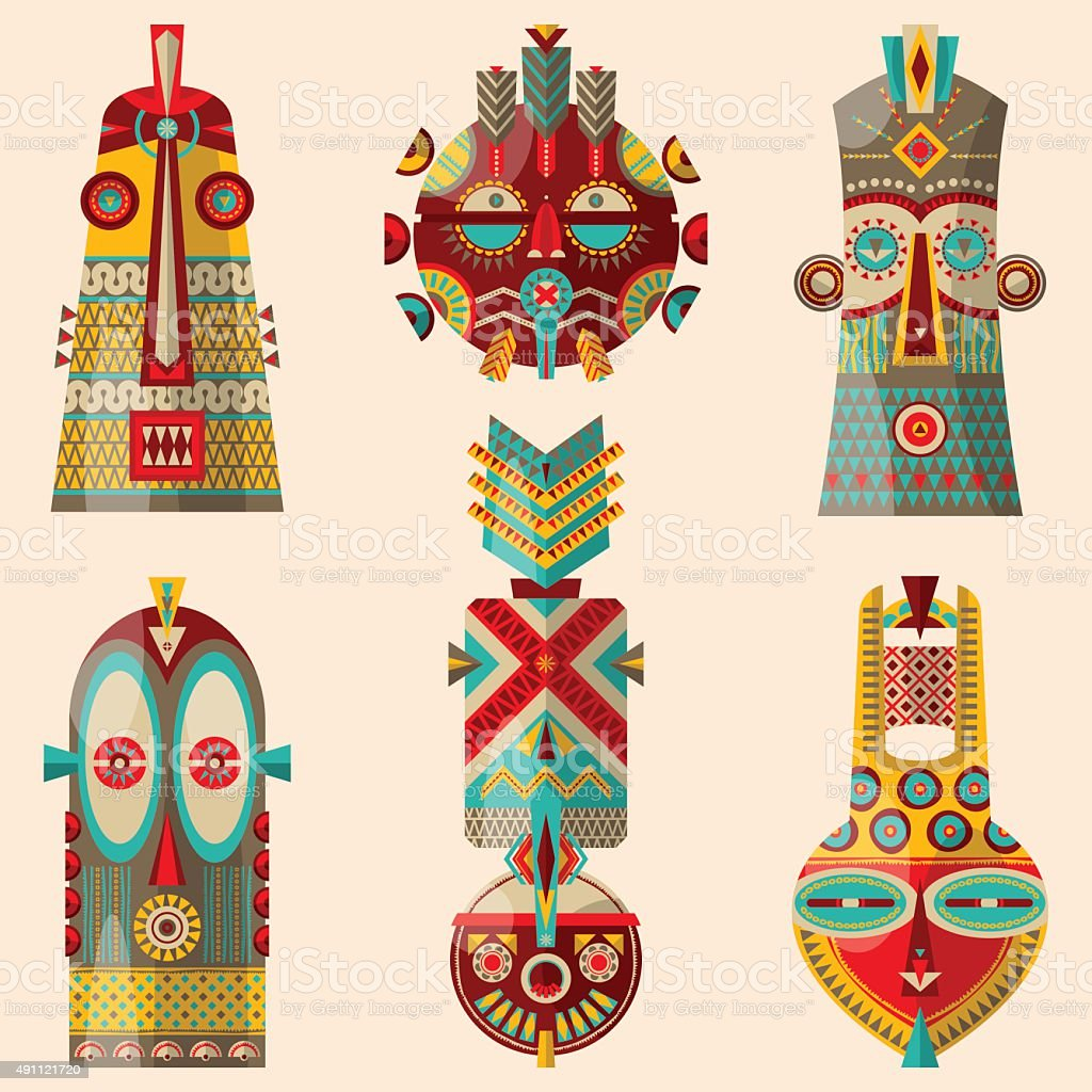 Multi-colored african masks of different shapes. vector art illustration