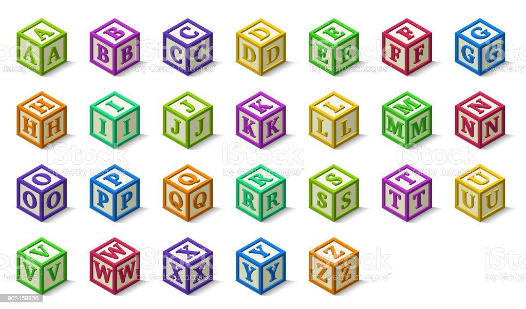 Alfabeto multicolor o abc bloques estilo isométrico, de la A la Z - ilustración de arte vectorial