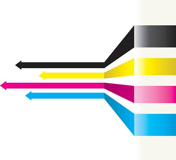 illustrazioni stock, clip art, cartoni animati e icone di tendenza di sfondo freccia - cmyk