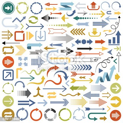 Set of multicolored Arrows vector illustration. Saved in EPS 8 file with all separated elements. Hi-res jpeg file included (5000x5000).