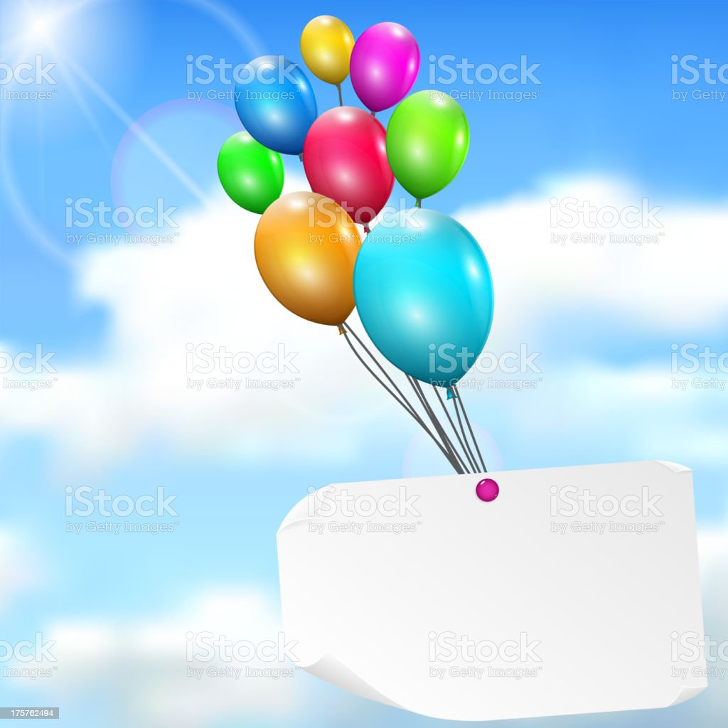 Multicolored balloons with paper card royalty-free stock vector art