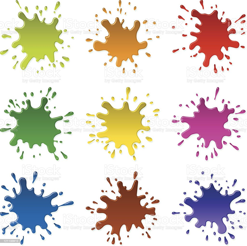Multicolored blots and sparks of a paint (CMYK eps8) royalty-free stock vector art