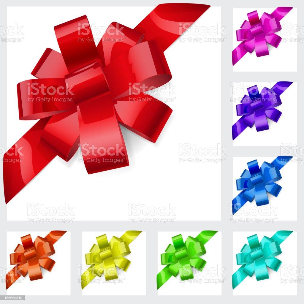 Multicolored bows of ribbon royalty-free stock vector art