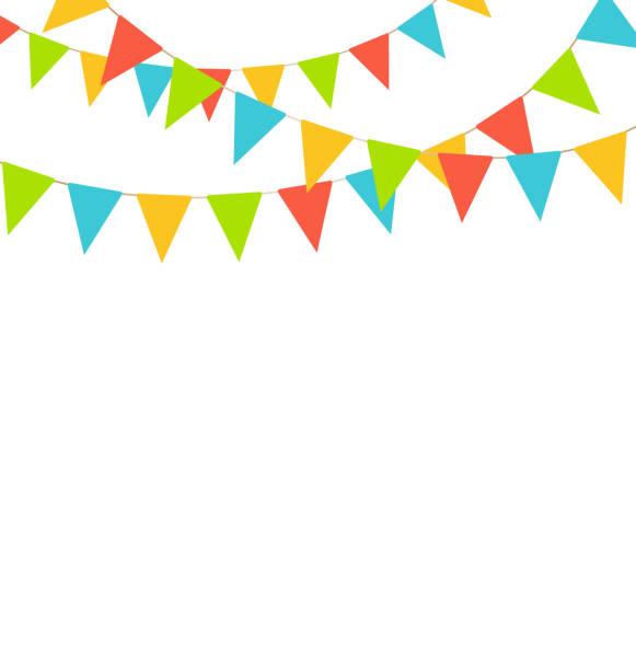 Brilhante bandeiras multicoloridas buntings guirlandas isolada no branco