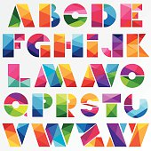 multicolored bright low poly style alphabet letters
