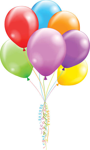 Multi-colored bunch of balloons tied with curled ribbon Vector illustration contains a transparency effects and gradients (no mesh, no blend). EPS 10. Additional file AI CS5 included.  bunch stock illustrations