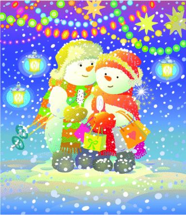 Multicolored Card. Snowmen at Christmas garland.