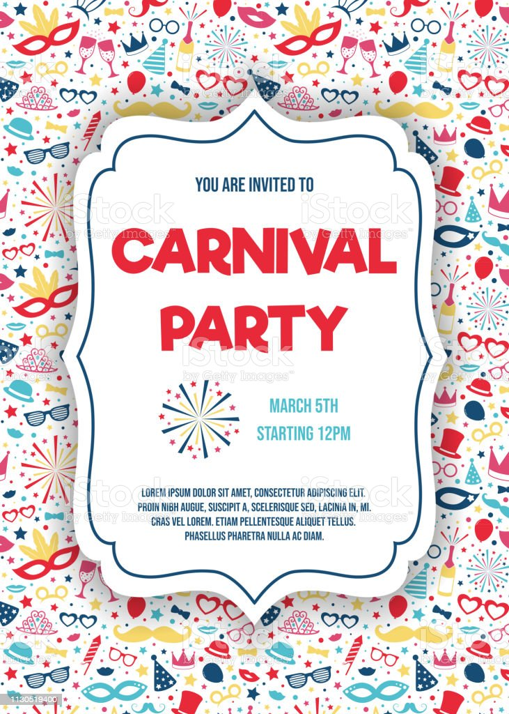 Ilustración De Tarjeta De Invitación Fiesta De Carnaval Multicolor Con Elementos Coloridos Vector Y Más Vectores Libres De Derechos De Anticuado