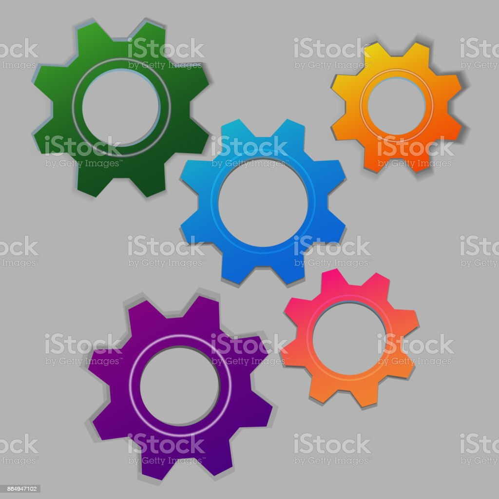 5 multi-colored cogs vector art illustration