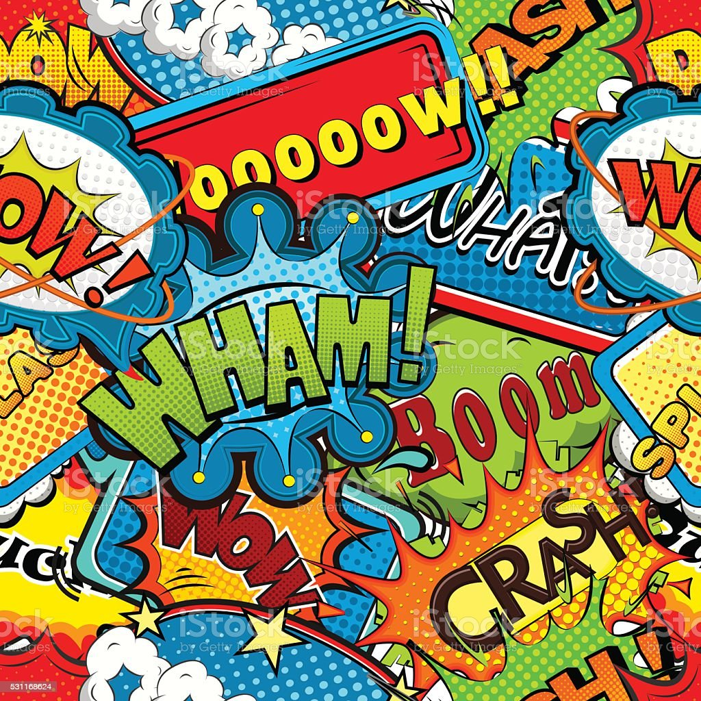Discours de bulles de bandes dessinées multicolore motif uniforme illustration vectorielle - clipart vectoriel de Abstrait libre de droits