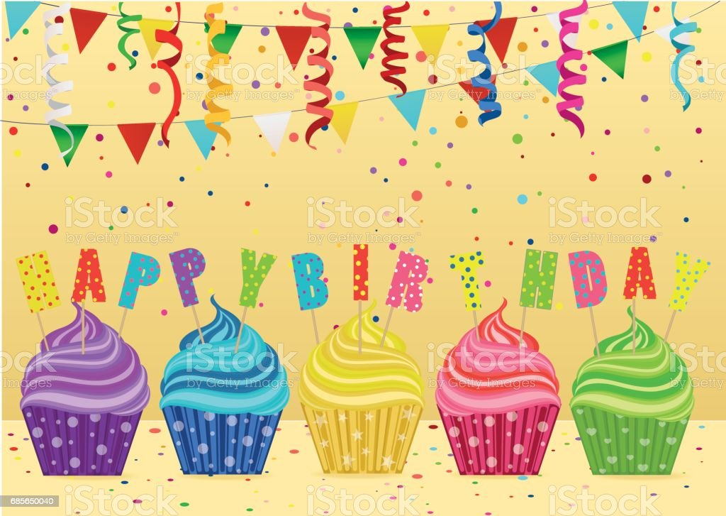 Multicolored cupcakes with letters and words with a birthday. Garland with flags and confetti. Greeting card or invitation. Vector. Free space for text or advertising. multicolored cupcakes with letters and words with a birthday garland with flags and confetti greeting card or invitation vector free space for text or advertising - arte vetorial de stock e mais imagens de aniversário royalty-free