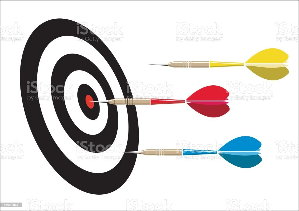 Multicolored darts and dart board with one bull's-eye royalty-free stock vector art