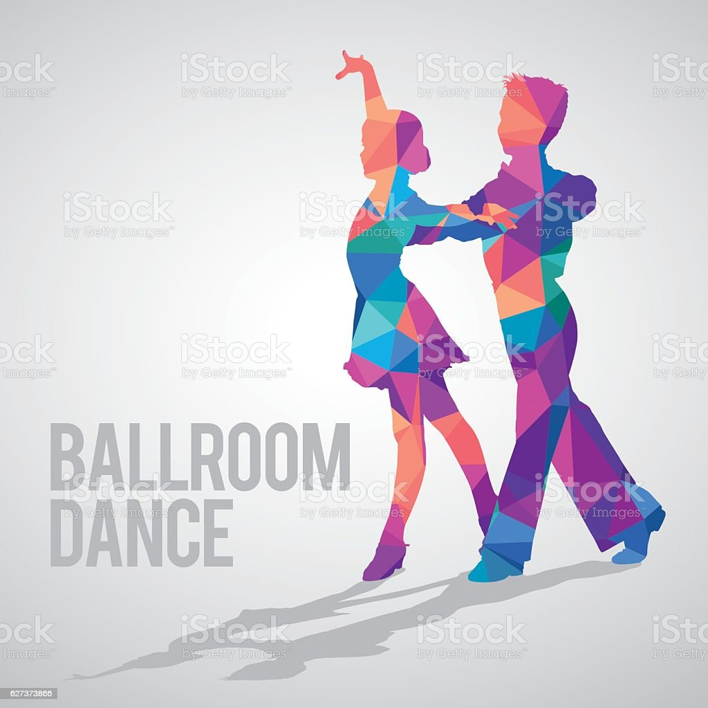 Multicolored detailed vector silhouette of young ballroom dancers vector art illustration
