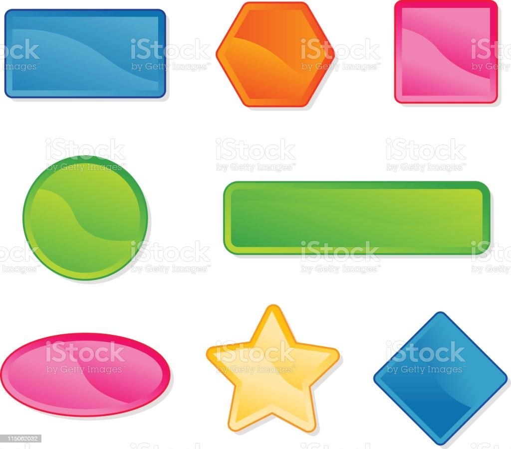 Multicolored, differently shaped website buttons royalty-free stock vector art