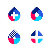 Multicolored drop with white cross. Vector logo mark template or icon for medical laboratory or pharmacy