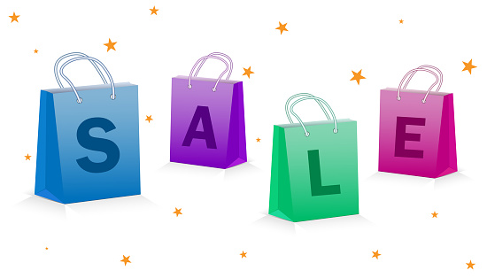 Multicolored Eco bags with the inscription sale, concept of promotional discounts before the holidays. All elements are isolated.