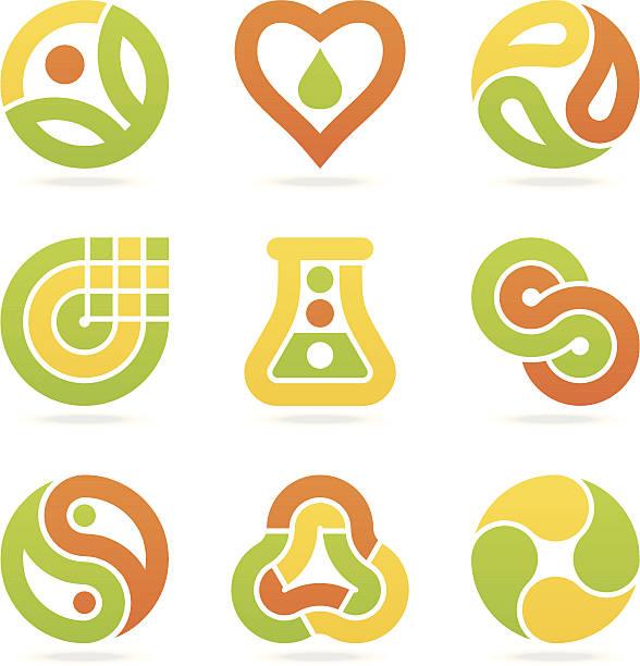 bildbanksillustrationer, clip art samt tecknat material och ikoner med multicolored eco symbols - recycling heart