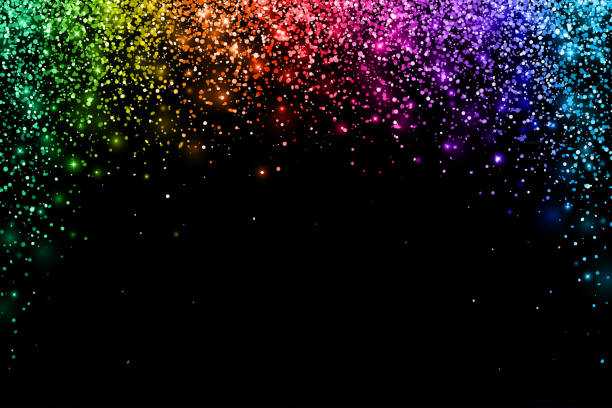 multicolored falling particles on black background, arch shape. vector - rainbow glitter background stock illustrations