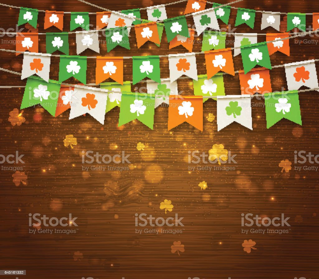 Multicolored festive bunting with clover on wood background. Irish holiday - happy Saint Patrick's Day backdrop with garland flags. vector art illustration