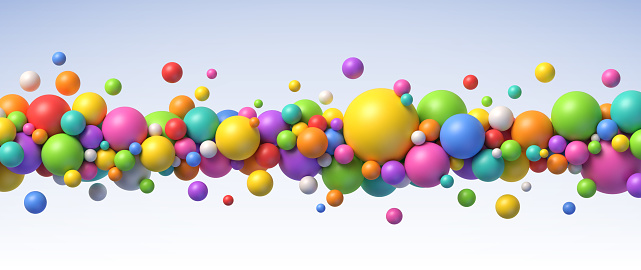 Multicolored flying balls vector background