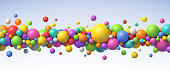 Abstract composition with colorful balls of different sizes. Realistic vector background