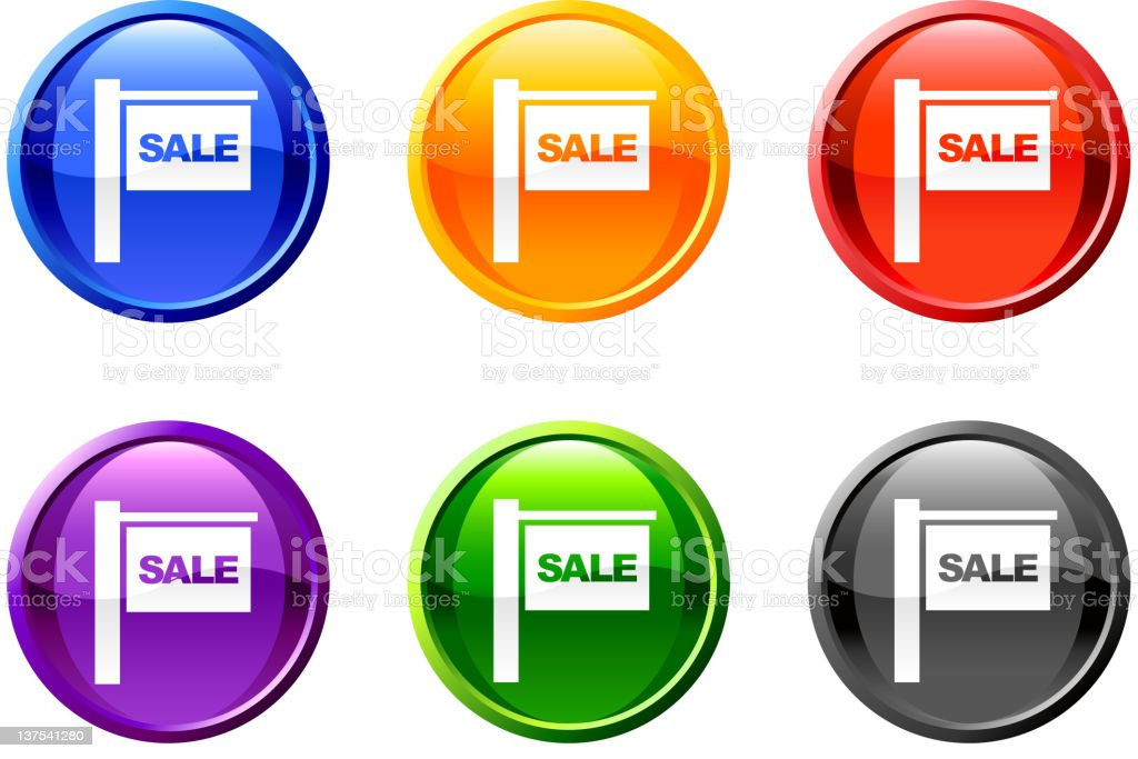 Multicolored for sale sign icon buttons on white background. royalty-free stock vector art