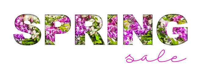 Multicolored Fresh Bloosoms Spring Sale Design for Advertising, Banners, Leaflets and Flyers.