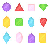 Multi-colored gems set. Jewelry, crystals collection isolated on white background. Diamonds different cut. Colorful cartoon gemstones collection. Realistic flat style vector illustration, clip art.