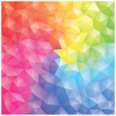 A low-polygon geometry pattern in rainbow color.