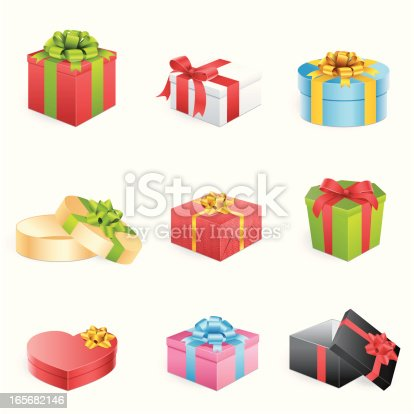 istock Multicolored gift boxes with bows and ribbons 165682146