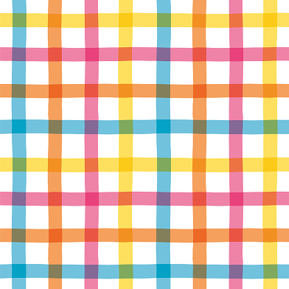 Multicolored Gingham Pattern. Vector bright print for fabric or wallpaper. Stock illustration