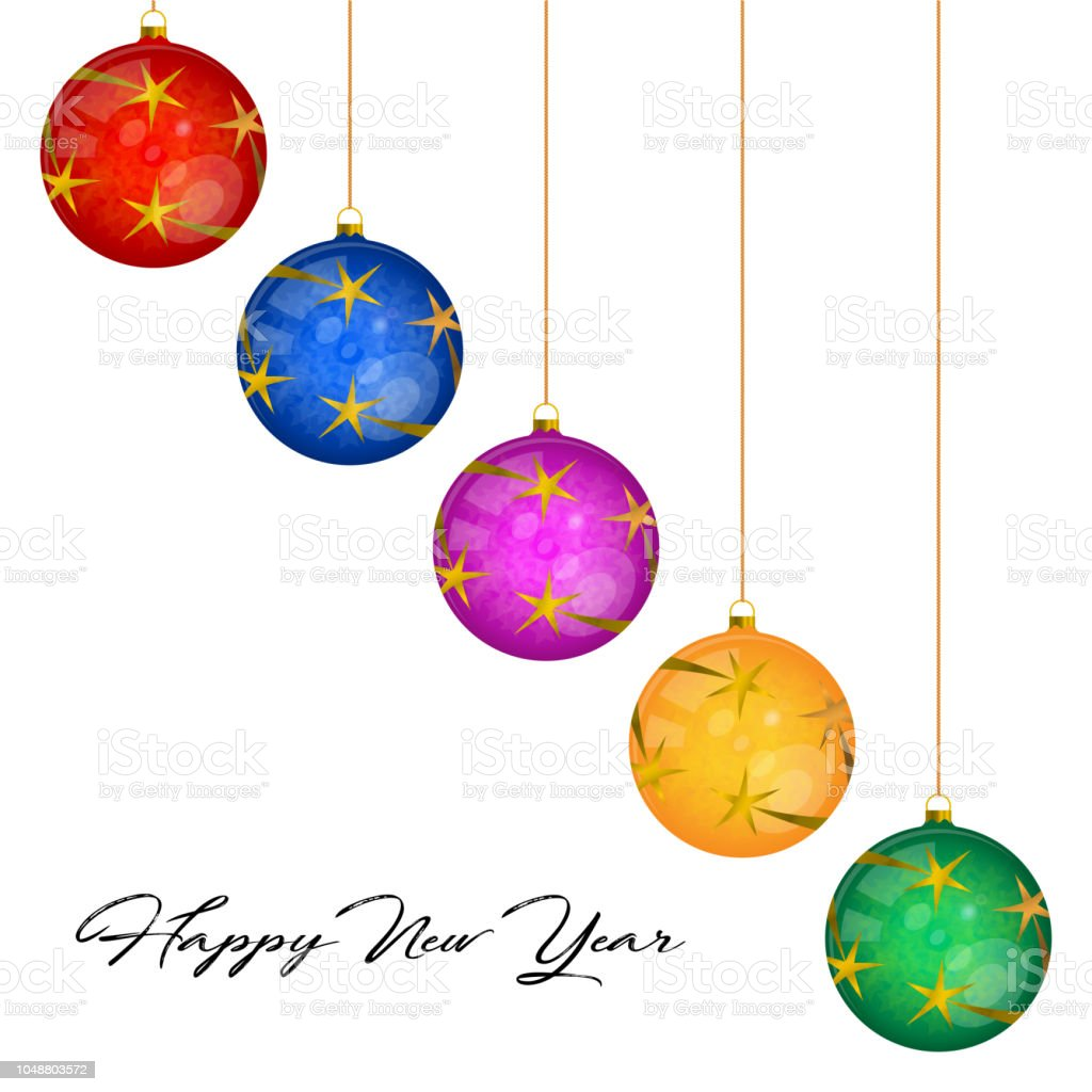 multicolored glass christmas balls vector greeting card template merry christmas and happy new year