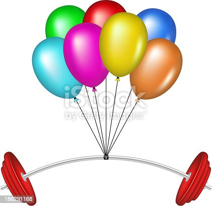 Multicolored glossy balloons lifting a heavy barbell on white background