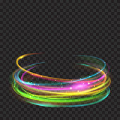 Multicolored glowing fire rings with glitter on transparent background. Light effects. For used on dark backgrounds. Transparency only in vector format