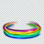 Multicolored glowing fire rings with glitter on transparent background. Light effects. For used on light backgrounds. Transparency only in vector format