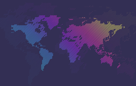 Multicolored Gradient Line World Map