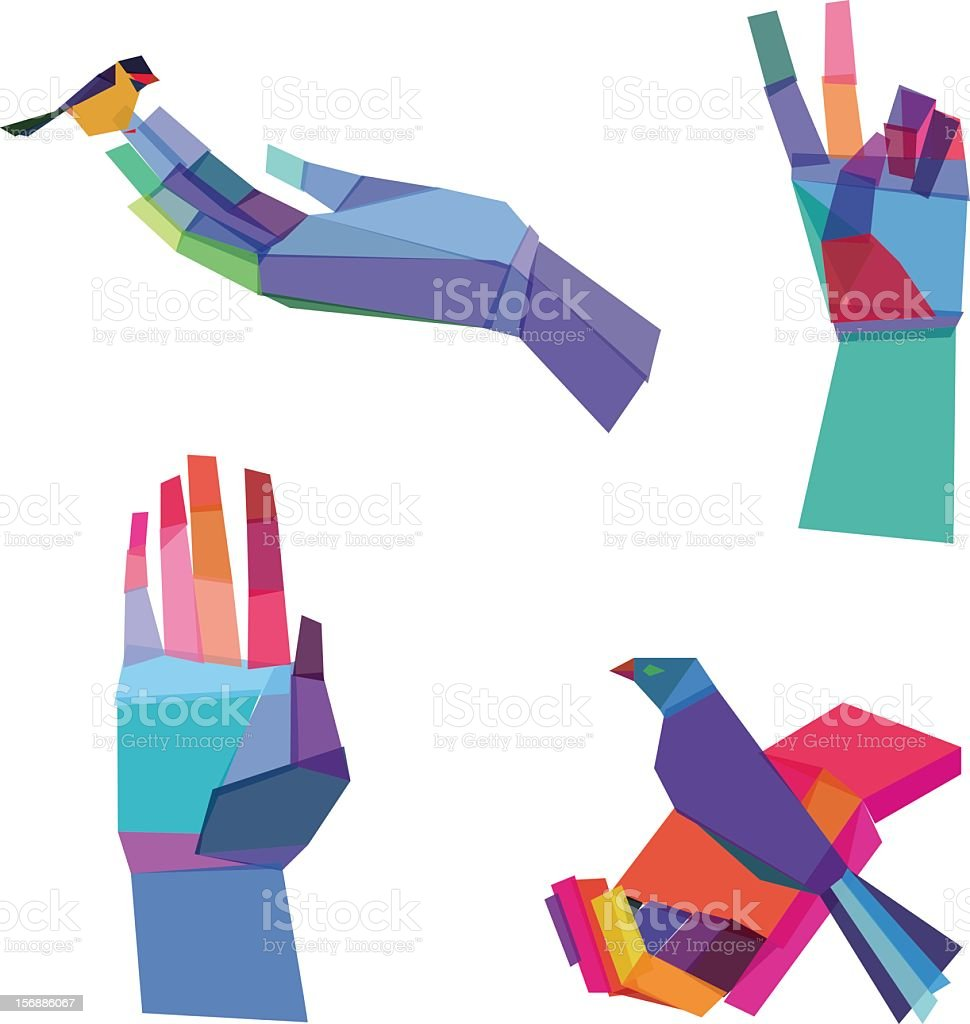 Multicolored hands designs consisting of polygonal shapes vector art illustration