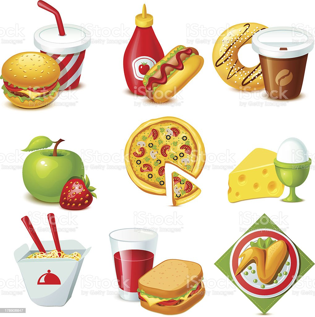 Multicolored illustration of food icons vector art illustration