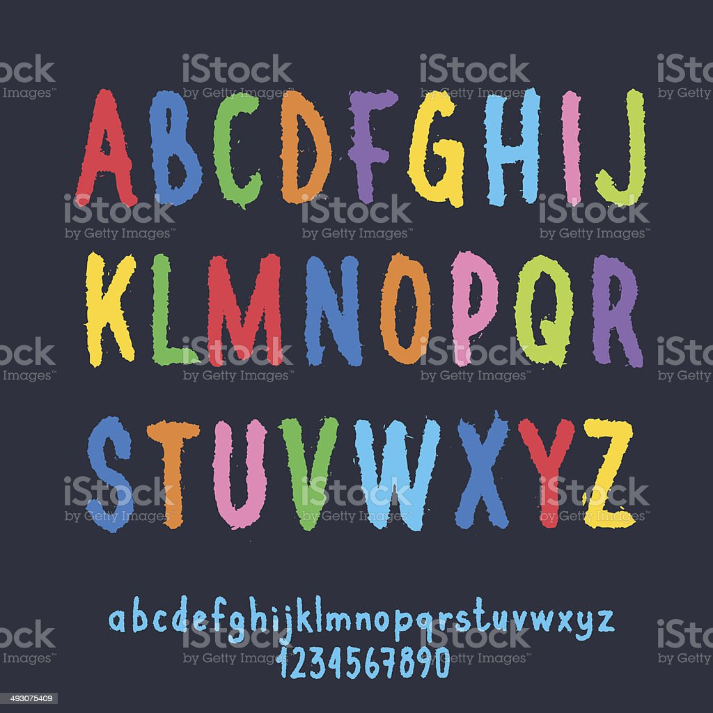 Multicolored Letters and Numbers with Ragged Edge royalty-free stock vector art