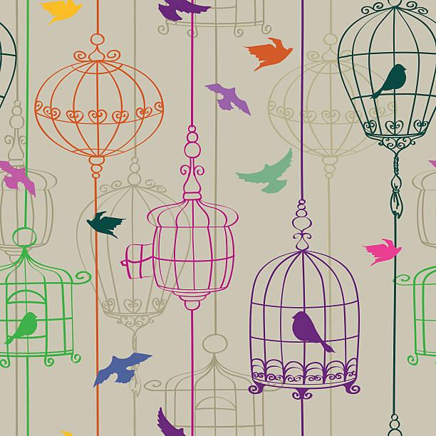 illustrations, cliparts, dessins animés et icônes de motif sans couture d'oiseaux et cages d'armature - dessin cage a oiseaux