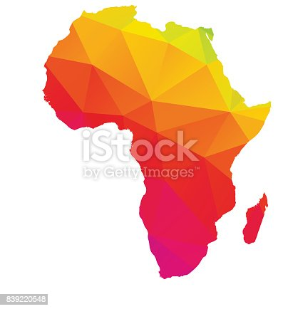 Colorful polygonal map of Africa with Madagascar, geometry cartography illustration, isolated on white