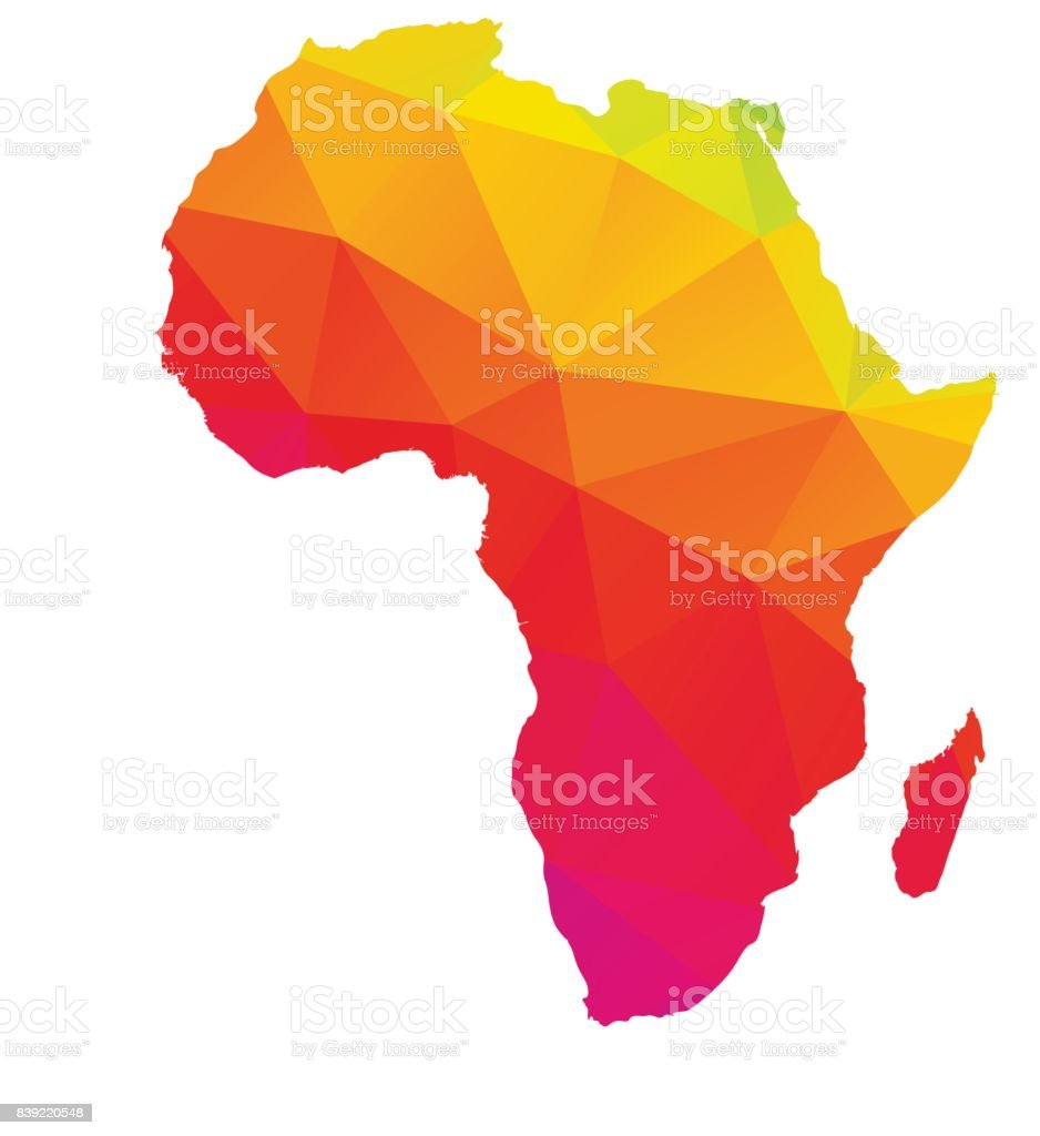 Carte de poly faible multicolores de l'Afrique à Madagascar - Illustration vectorielle