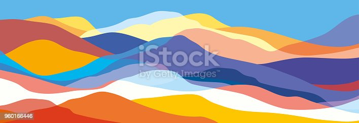 istock Multicolored mountains, orange and blue waves, abstract shapes, modern background, vector design Illustration for you project 960166446